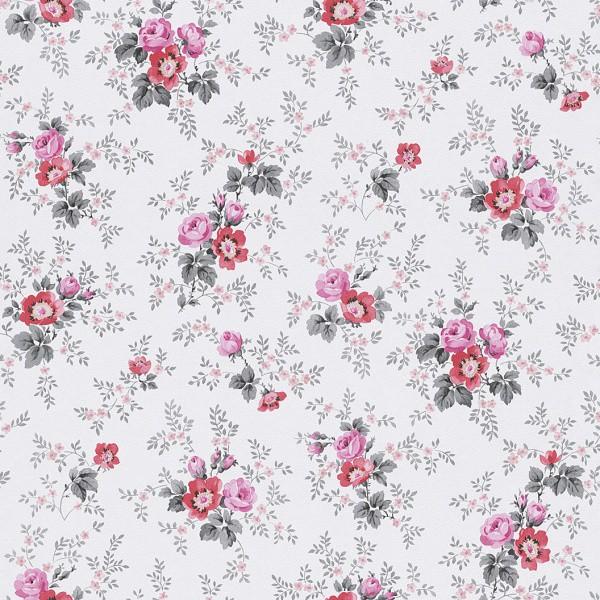 Tapete grau rosa blumen petite fleur rasch 285054 for Tapete grau mit muster