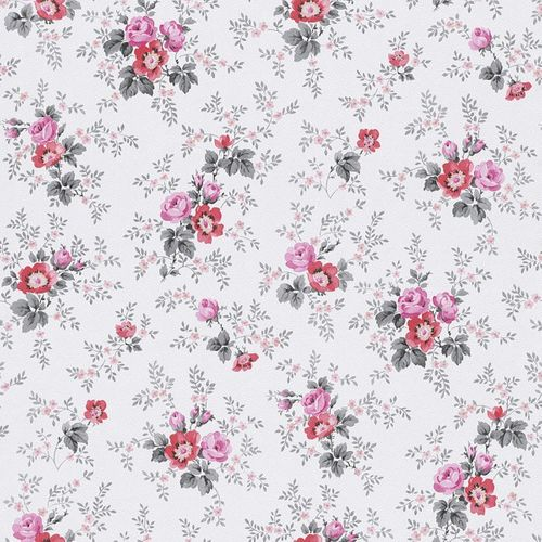 Wallpaper Rasch Textil nature grey rose red 285054