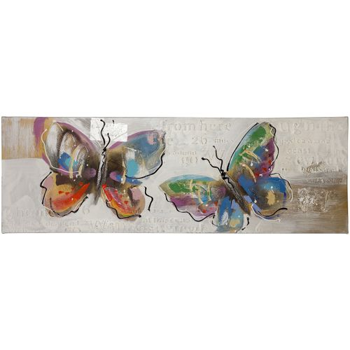 Picture oil painting handmade 40 x 120 cm Butterflies font grey beige coloful online kaufen
