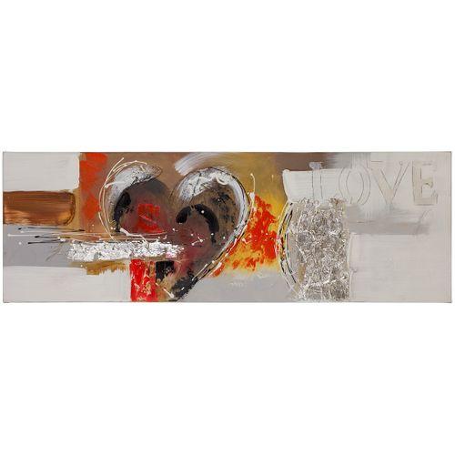 Ölgemälde Bild Handarbeit 40x120 Herz Abstrakt rot weiß online kaufen