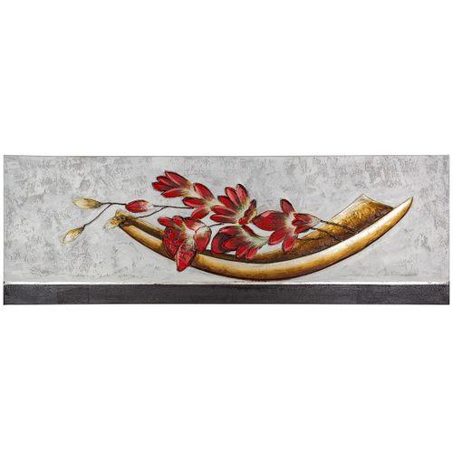Wandbild handgefertigt 50x150 Schale Blumen grau beige