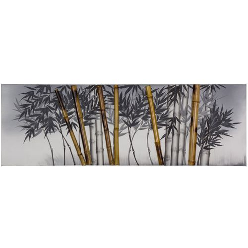Picture oil painting handmade 50x150 cm bamboo light grey beige anthracite online kaufen