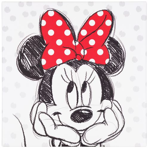 Picture stretcher art print 35x35 Disney Minnie Mouse black white red online kaufen