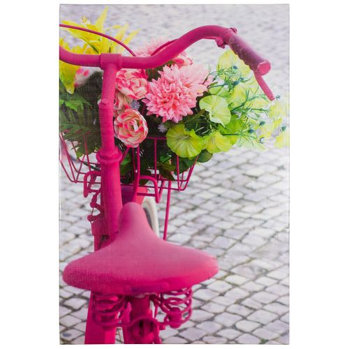 Picture stretcher art print Bild 60x90 cm bicycle flowers pink green grey