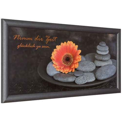 Picture framed art print 23x49 cm Wellness flower stones anthracite grey orange online kaufen