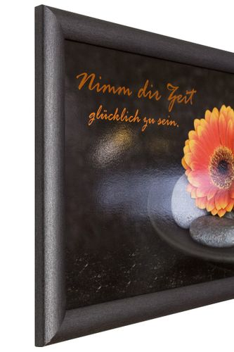 Picture framed art print 23x49 cm Wellness flower stones anthracite grey orange online kaufen