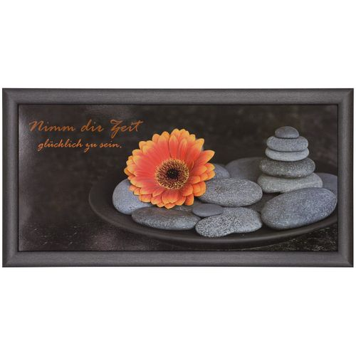 Picture framed art print 23x49 cm Wellness flower stones anthracite grey orange