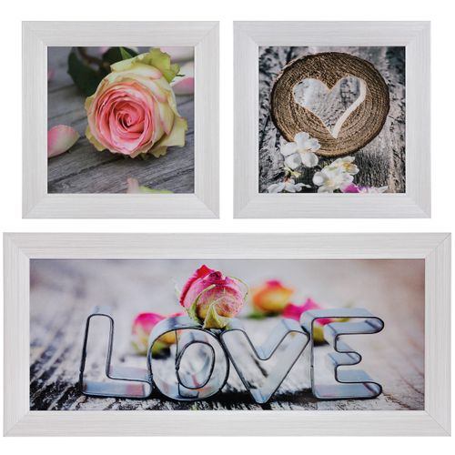 Set of 3 pictures framed art print in different sizes Love roses white rose greyblue online kaufen