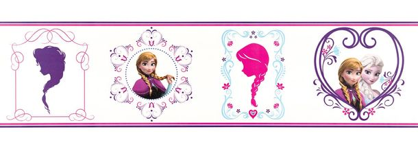 Border purple white pink Disney Frozen Elsa Anna Graham & Brown Tapete 90-065  online kaufen