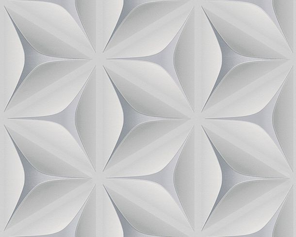 Non-Woven Wallpaper floral 3D graphic grey 96042-1