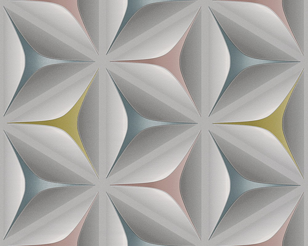 Vliestapete modern türkis  Tapeten livingwalls Move Your Wall Vliestapete Blume 3D-Optik grau ...