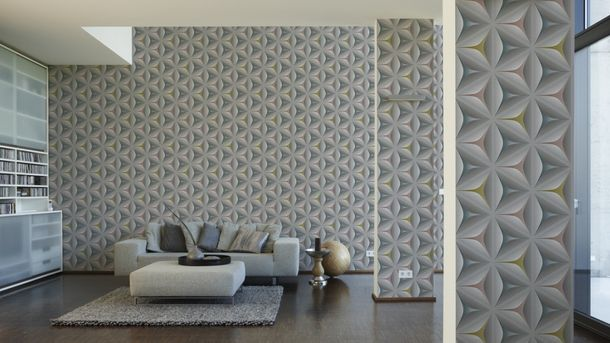 Non-Woven Wallpaper floral 3D graphic grey green 96042-2 online kaufen