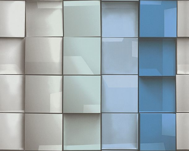 Wallpaper mosaic grey turquoise Move Your Wall 96020-1