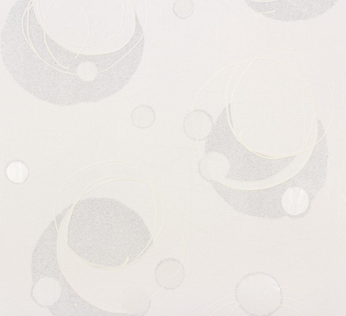 Vliestapete weiß silber  Vliestapete Kreise abstrakt weiß silber gold Marburg Wohnsinn 55620