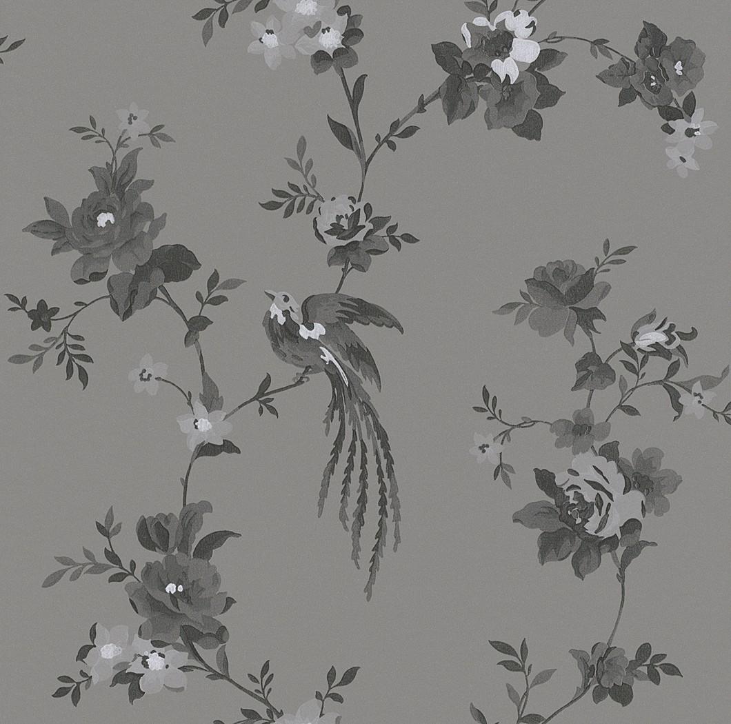 vliestapete blumen grau anthrazit tapete rasch sophie charlotte 440645 - Tapete Wohnzimmer Anthrazit