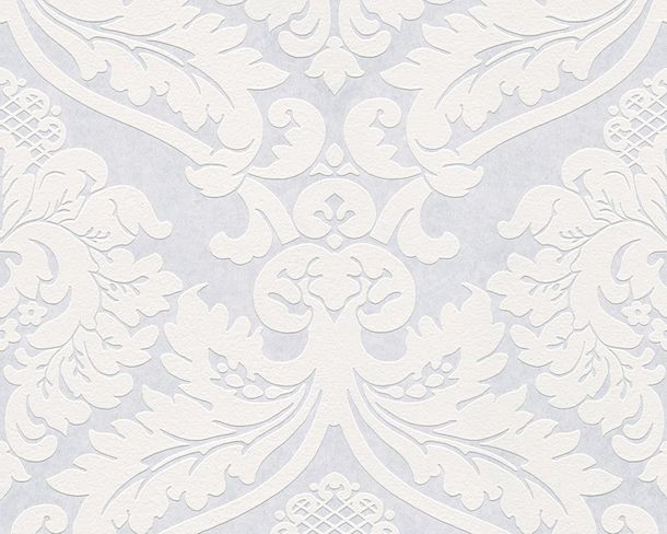 Wallpaper paintable baroque floral white AS Meistervlies PRO 2438-12