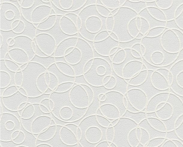 Wallpaper paintable circles modern white AS Meistervlies PRO Protect 5611-14