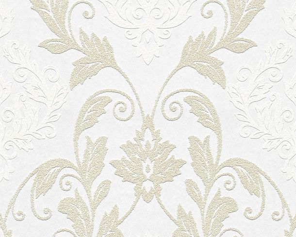 Wallpaper paintable ornament white Pigment 95166-1