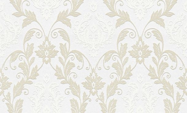 Wallpaper paintable ornament white Pigment 95168-1