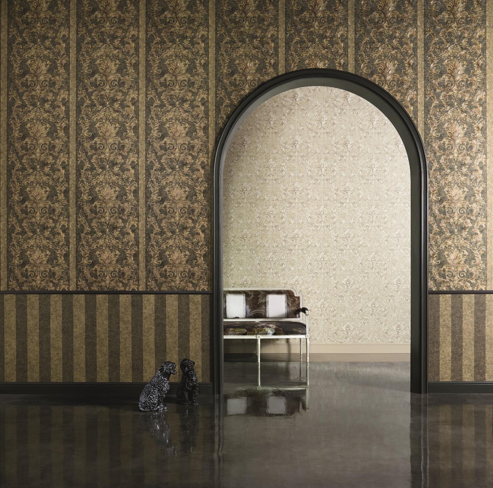Wallpaper versace ornament brown green 96216 1 for Wallpaper versace home