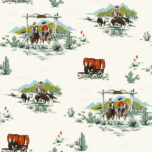 wallpaper non-woven cowboy turquoise green white Everybody Bonjour 128717