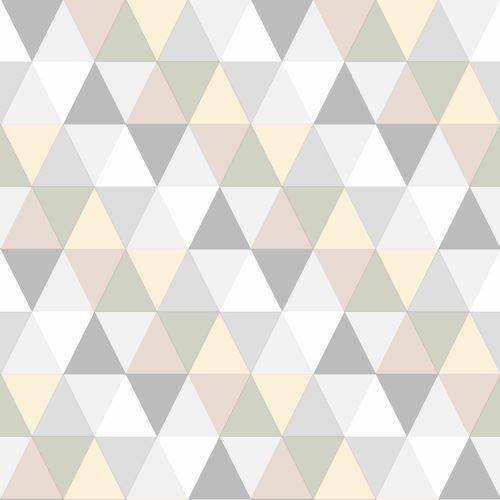 Kinder-Vliestapete Dreiecke beige creme grau 128707