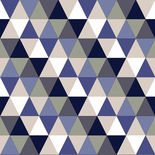 wallpaper non-woven triangle blue white beige Everybody Bonjour 138716 online kaufen