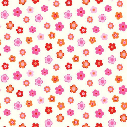 wallpaper non-woven flower pink red white 138725