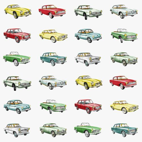 wallpaper non-woven cars white green red Everybody Bonjour 138731 online kaufen