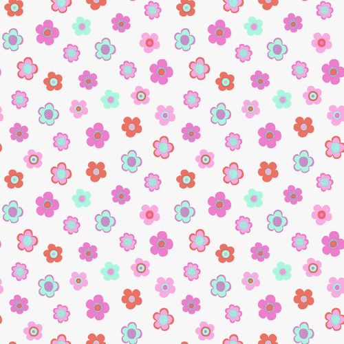 wallpaper non-woven flower turquoise pink rose 138724