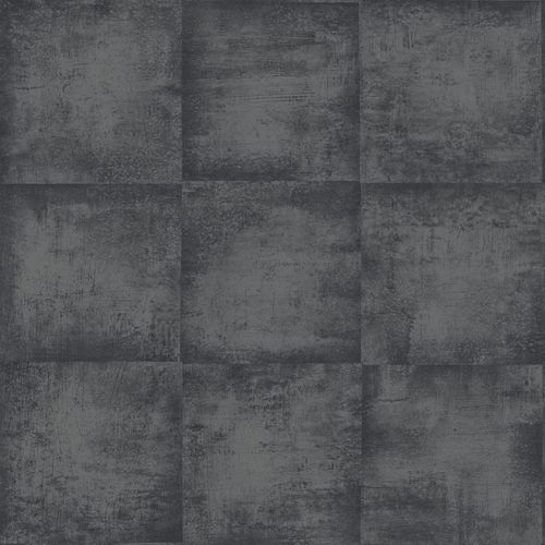 138204 Non-Woven Wallpaper squared structure black grey