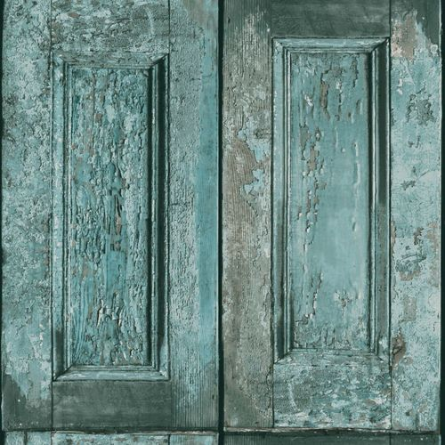 138208 Non-Woven Wallpaper wood green blue Vintage Rules!