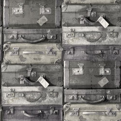 138216 Non-Woven Wallpaper suitcase black grey white Vintage Rules! online kaufen