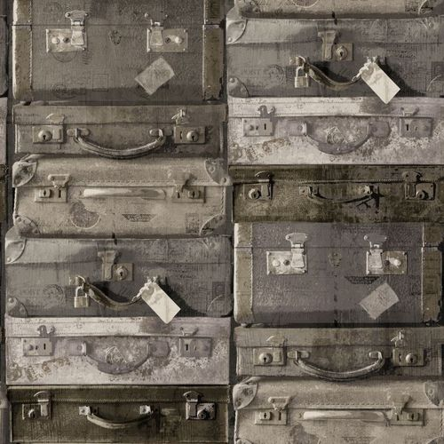 138217 Non-Woven Wallpaper suitcase brown Vintage Rules!