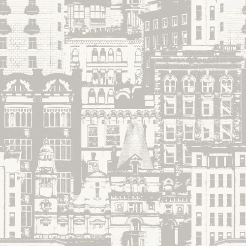 138223 Non-Woven Wallpaper city white grey Vintage Rules! online kaufen