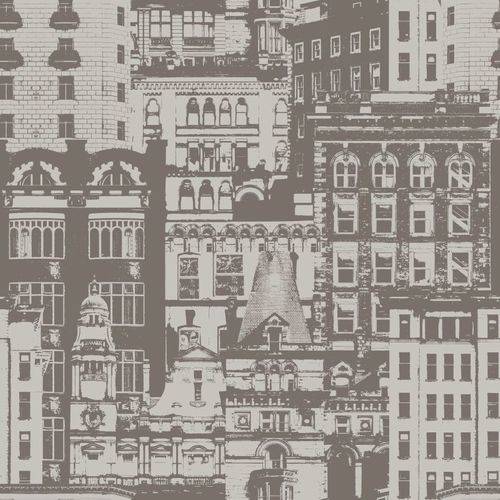 138225 Non-Woven Wallpaper city brown grey Vintage Rules!