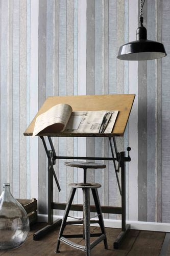138250 Non-Woven Wallpaper wood grey white Vintage Rules! online kaufen