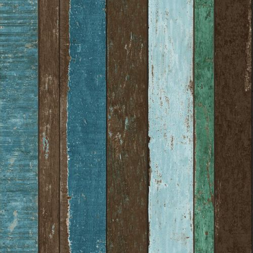 138252 Non-Woven Wallpaper wood blue brown green Vintage Rules! online kaufen