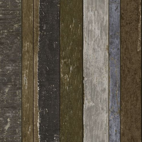 138254 Non-Woven Wallpaper wood blue grey brown Vintage Rules!