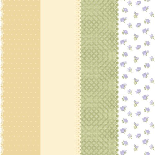 Non-Woven Wallpaper dots squared flowers yellow beige green Bim Bum Bam 002227