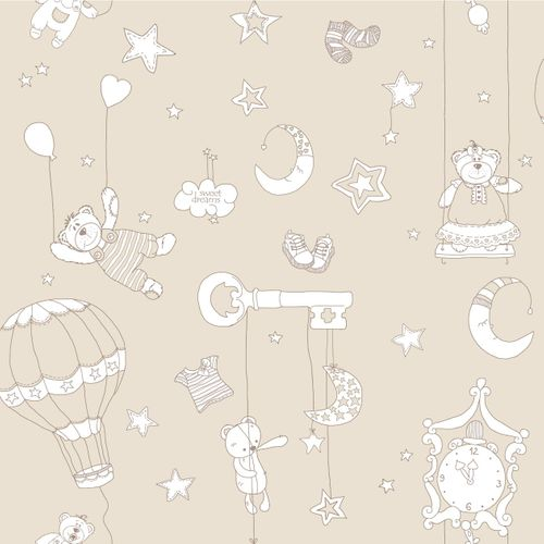 Non-Woven Wallpaper kids beige white brown Bim Bum Bam 002232