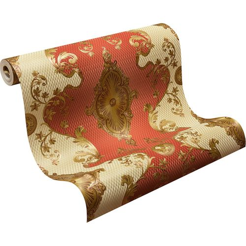 Satin Wallpaper Baroque Classic red gold 6829-18