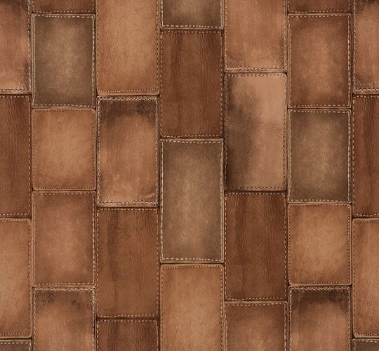 Non-woven wallpaper leather optic copper Rasch Wild 475845