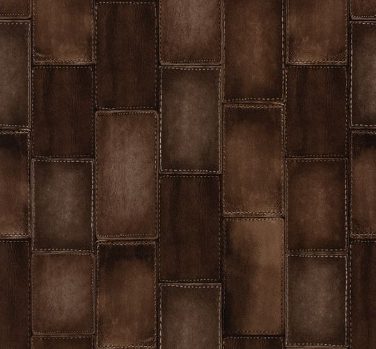 Non-woven wallpaper leather optic brown Rasch Wild 475852