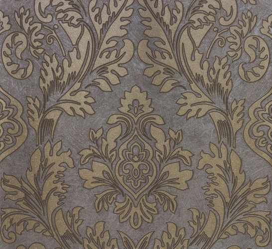 Non-woven wallpaper grey gold baroque Marburg 56801