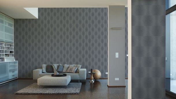 Non-woven wallpaper grey black stripes Cocoon A.S. Creation 95759-5 online kaufen