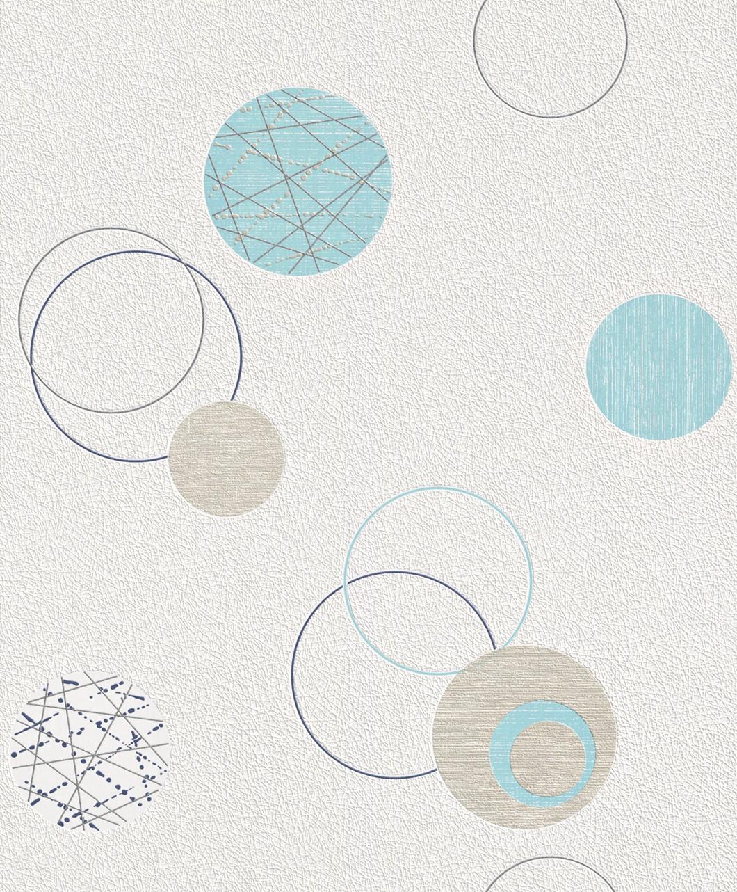non-woven wallpaper blue beige circles Planet Rasch 475913