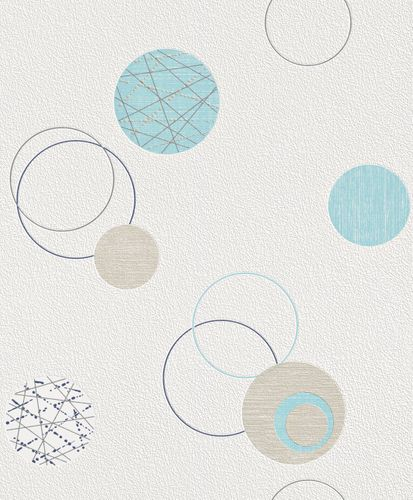 non-woven wallpaper blue beige circles Planet Rasch 475913