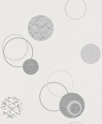 non-woven wallpaper silver grey circles Planet Rasch 475906