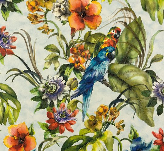 Vinyl Wallpaper Tropical Flowers blue colourful 30015-2 online kaufen